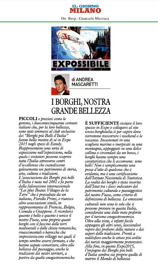 Expossibile 10 settembre 2015 borghi d italia